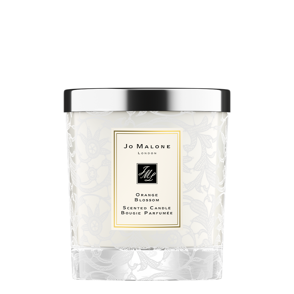 Orange Blossom Home Candle with Lace Design